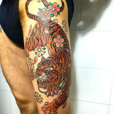 Asian Tiger Thigh Tattoo