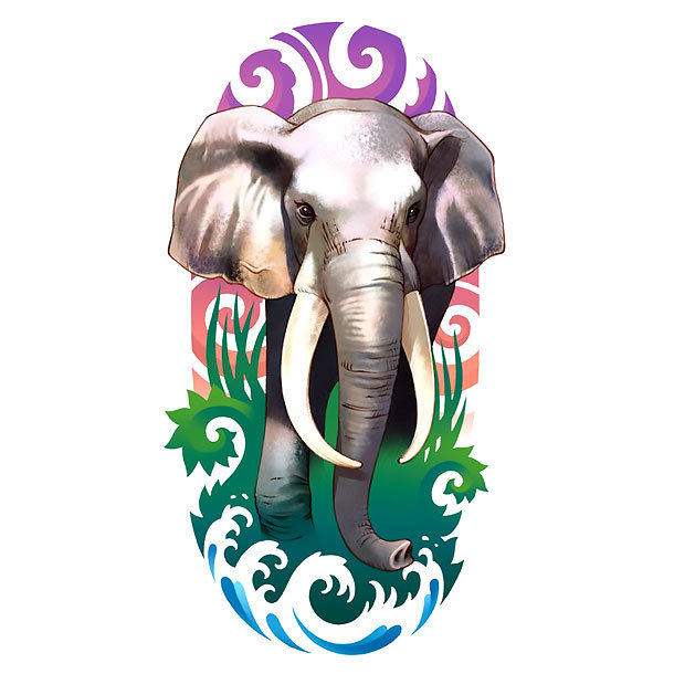 Colorful Elephant Tattoo Design