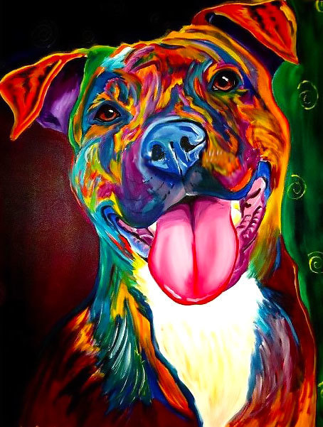Colorfull Pitbull Tattoo Design