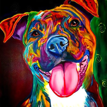 Colorfull Pitbull Tattoo