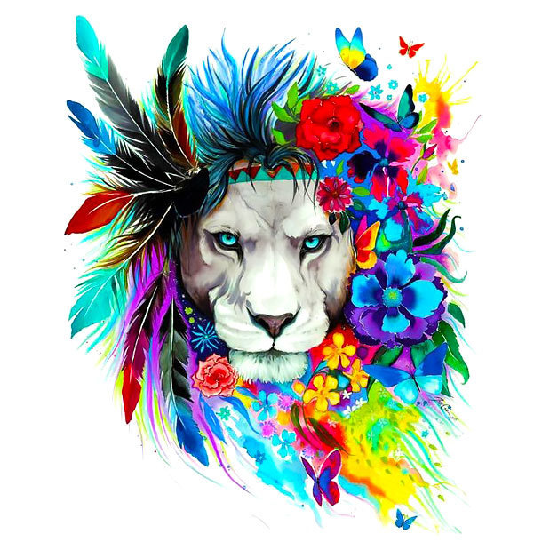 Colorful Lion Flowers Tattoo Design
