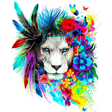 Colorful Lion Flowers Tattoo
