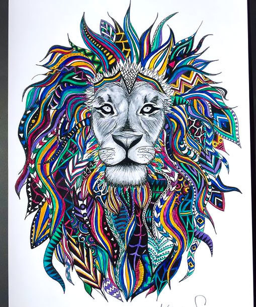 Colorful Lion Head Tattoo Design