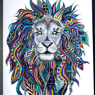 Colorful Lion Head Tattoo