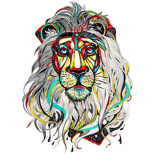 Colors Lion Head Tattoo Design