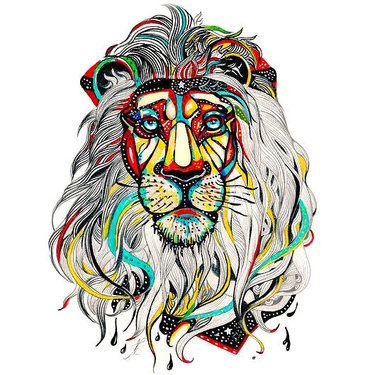 Colors Lion Head Tattoo