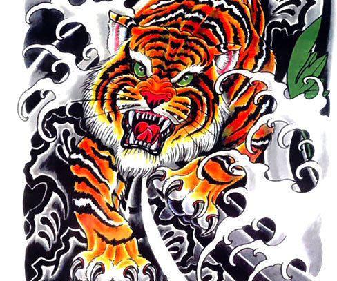 Cool Asian Tiger Tattoo Design