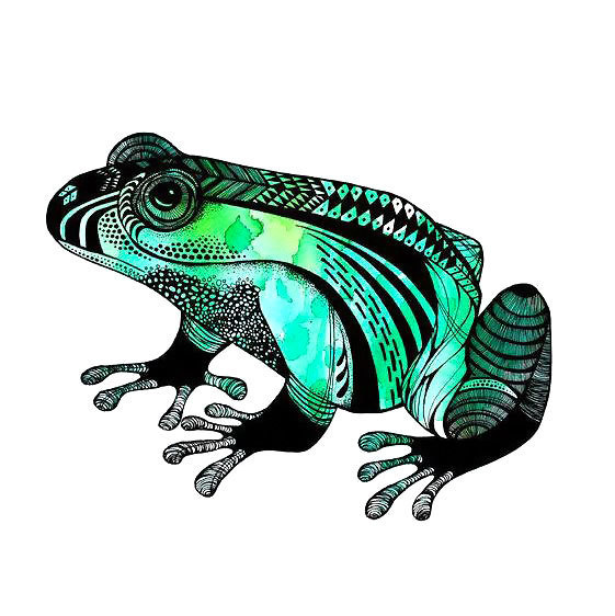 Cool Colorful Frog Tattoo Design