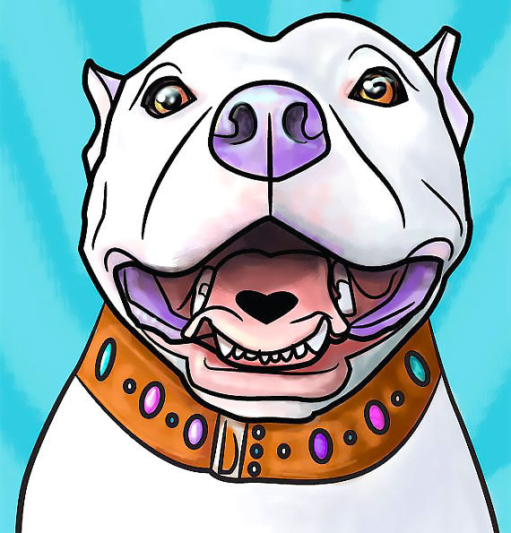Cool Colorfull Pitbull Tattoo Design