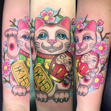 Chinese Money Cat Tattoo