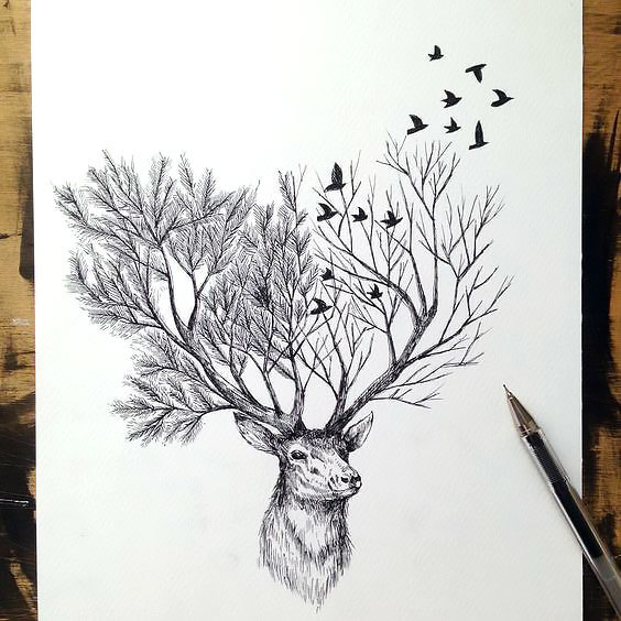 Cool Deer Tattoo Design