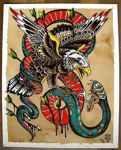 Cool Eagle and Snake Tattoo Design