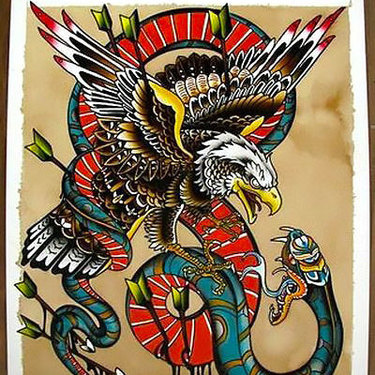 Cool Eagle and Snake Tattoo