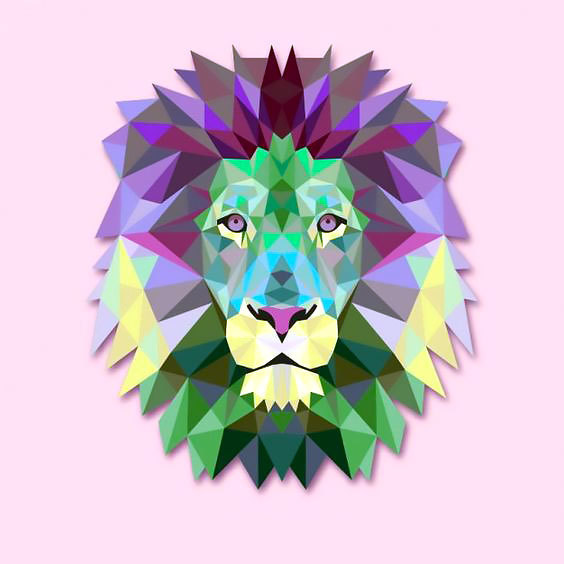 Cool Geometric Lion Tattoo Design