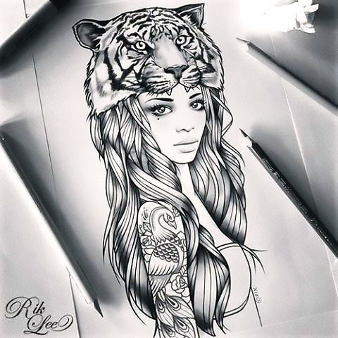 Cool Girl With Tiger on Head Tattoo Design