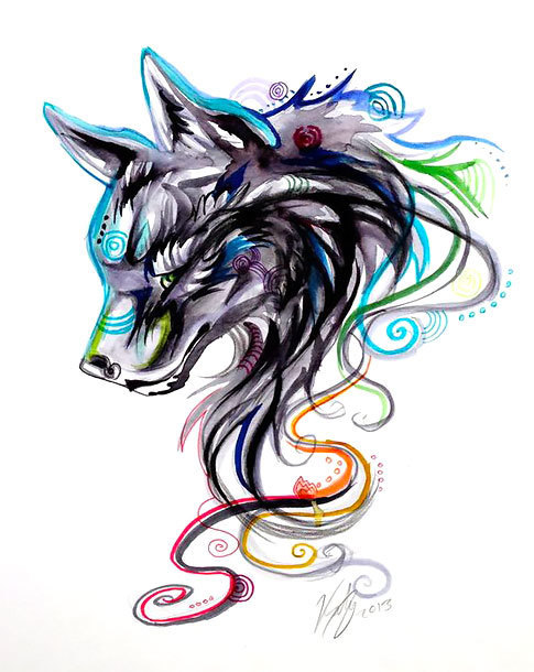 Cool Girly Wolf Tattoo Design