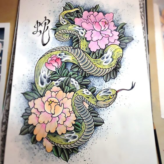 Cool Japanese Snake Tattoo Design