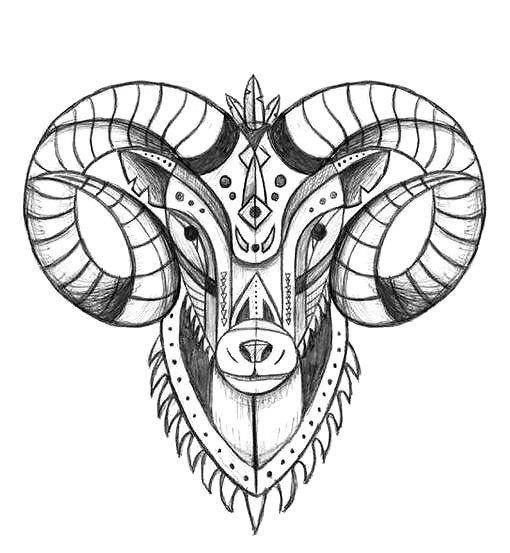 Cool Ram Head Tattoo Design