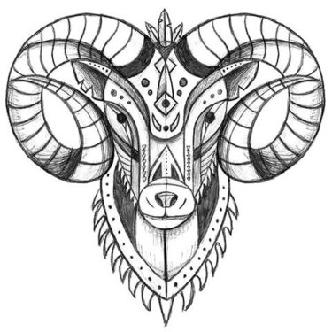 Cool Ram Head Tattoo