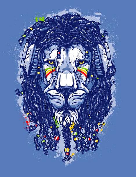 Cool Rasta Lion Tattoo Design