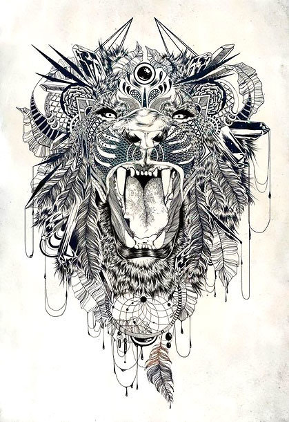 Cool Roaring Lion Tattoo Design