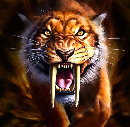 Cool Saber Tooth Tiger Tattoo Design