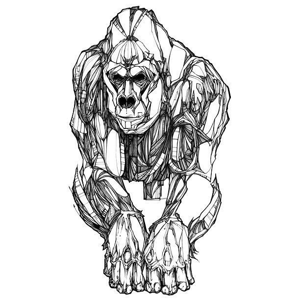 Cool Silverback Gorilla Tattoo Design