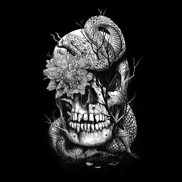 Cool Snake Skull Tattoo Design