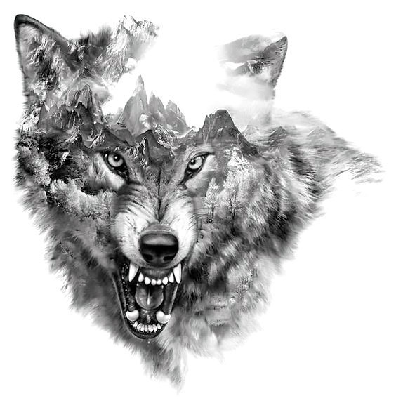 Cool Snarling Wolf Tattoo Design