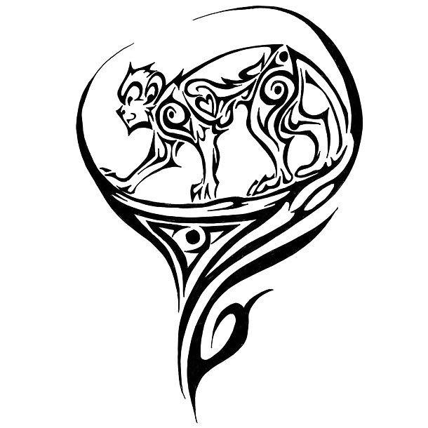 Cool Tribal Monkey Tattoo Design