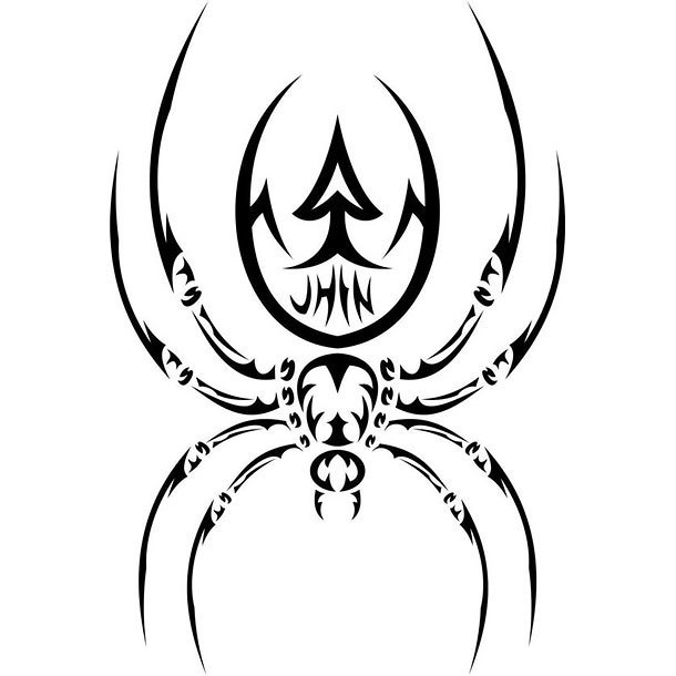 Cool Tribal Spider Tattoo Design