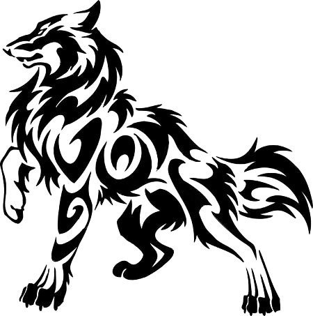 Cool Tribal Wolf Tattoo Design