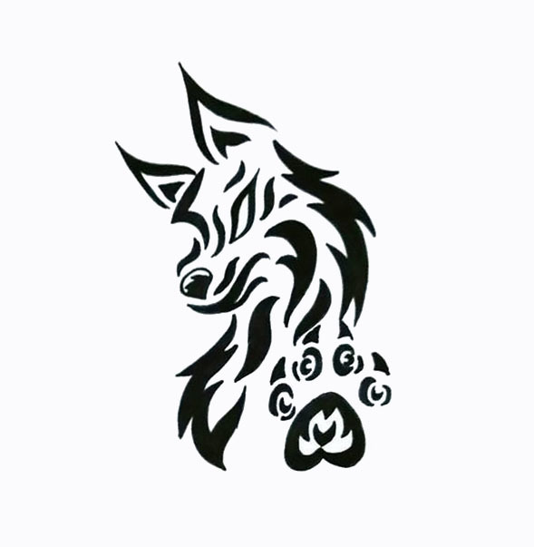 Nice Wolf and Paw Tattoo Design