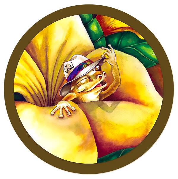 Coqui Frog In Flower Tattoo Design
