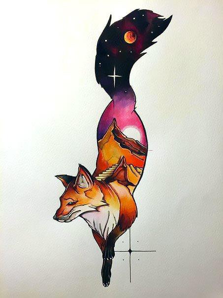 Cosmo Fox Tattoo Design