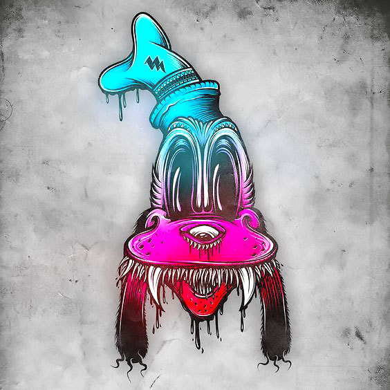 Crazy Mad Dog Tattoo Design