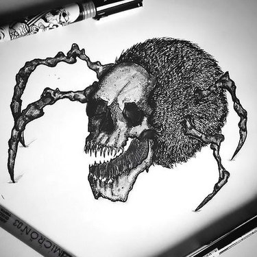 Crazy Spider Skull Tattoo