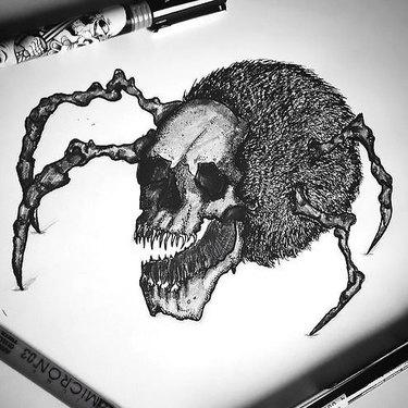 Crazy Spider Skull Tattoo