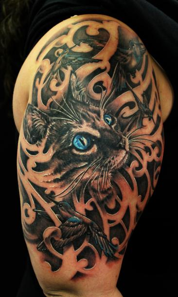 Cool Cat Tattoo Idea