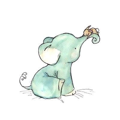 Cute Baby Elephant Tattoo Design