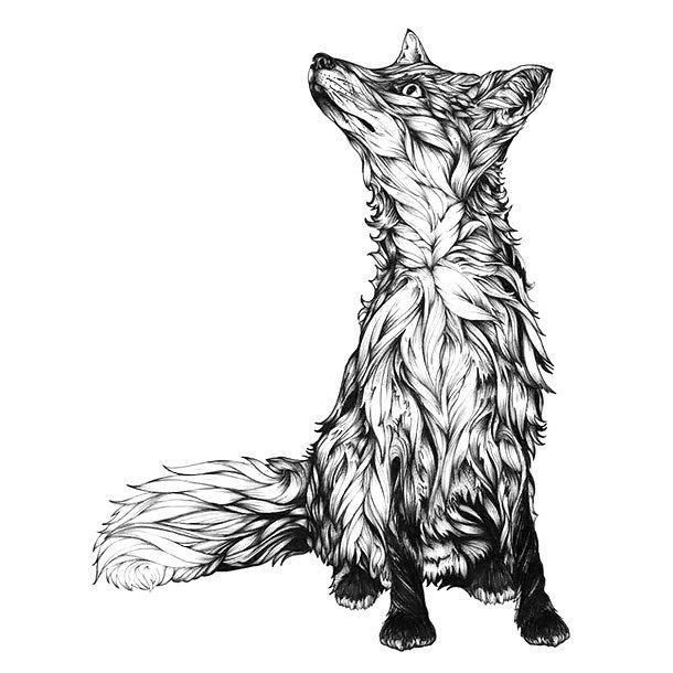 Cute Back and Gray Fox Tattoo Design