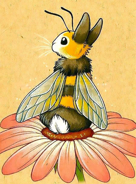 Cute Bunny Bee In Flower Tattoo Design