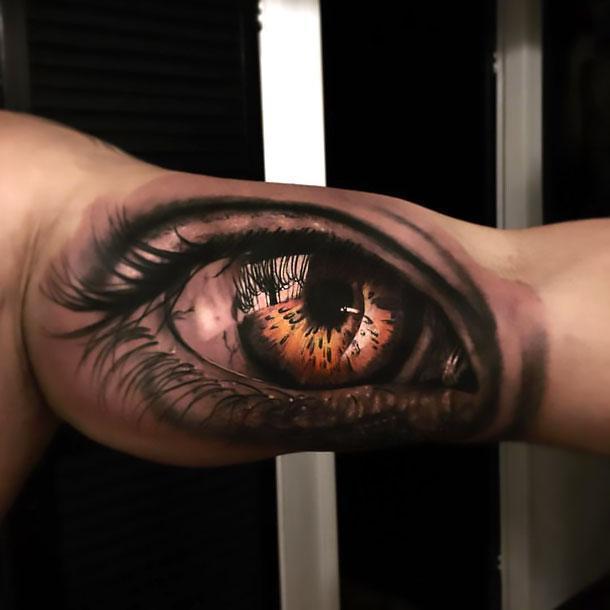 Best Eye on Bicep Tattoo Idea