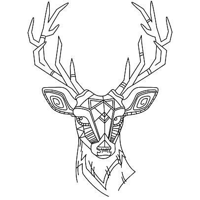 Cute Deer Head Tattoo Design