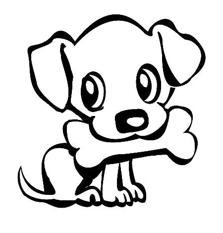 Cute Dog With Bone Tattoo Design