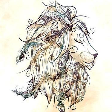 Cute Girly Lion Head Tattoo