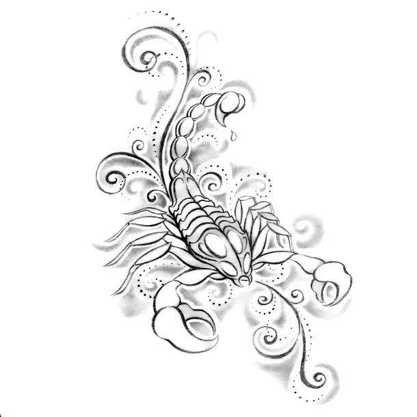 Cute Girly Scorpion Tattoo Design