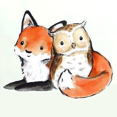 Cute Little Fox and Owl Tattoo
