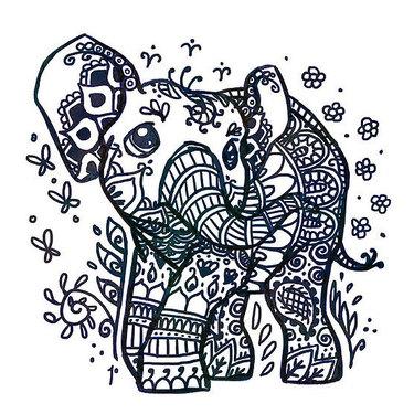 Cute Henna Elephant Tattoo