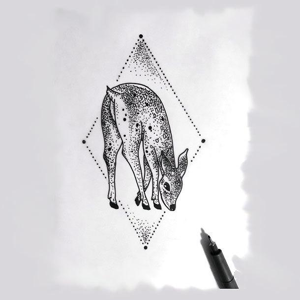 Deer Bamby Tattoo Design